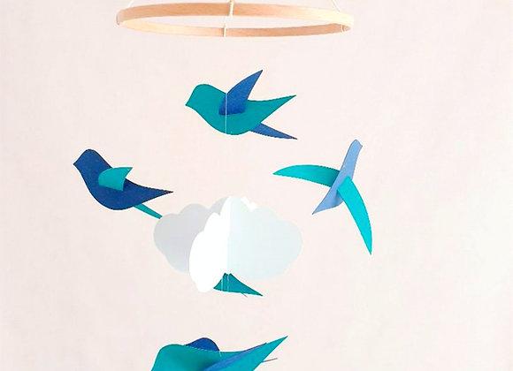 Mobile 6 oiseaux vert/bleu et nuage sur cercle en bois 70x20cm