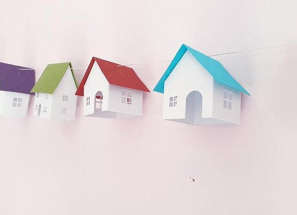 Guirlande aux 8 Maisonnettes colorées en papier cartonné recyclé