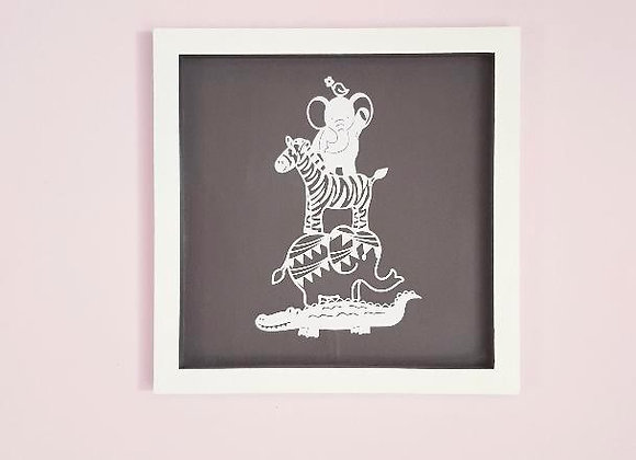 Cadre blanc et parme foncé en bois,Animaux en papier blanc,35 x 35 cm