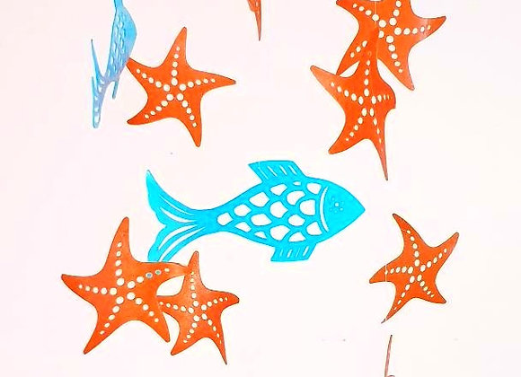 Mobile - Poissons et étoiles de mer et cercle en bois 20x70cm