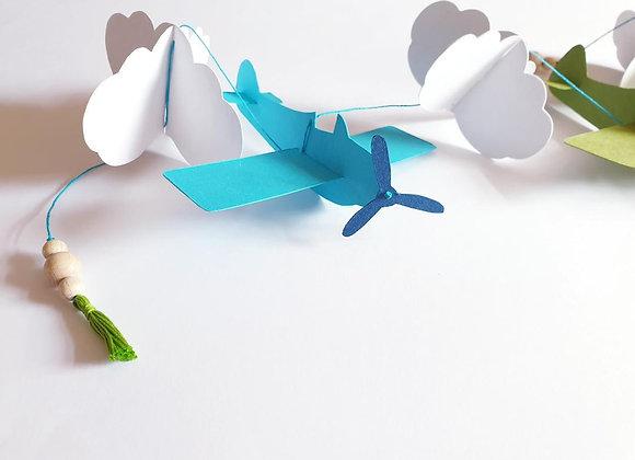 Guirlande déco chambre enfant,avions nuages en papier cartonné,Fait main