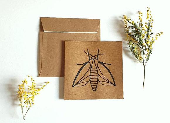Carte + enveloppe 13.5x13.5cm,Insecte en dentelle