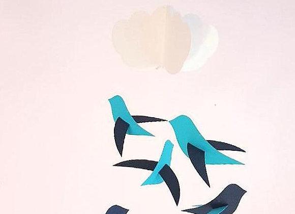 Mobile pour bébé - Oiseaux bleu et nuage et cercle en bois