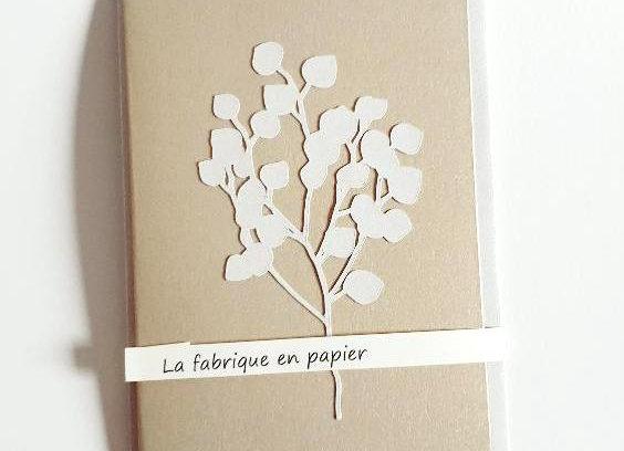Carte de Voeux,Carte Or et Enveloppe Argentée,Brin de Fleurs Argenté