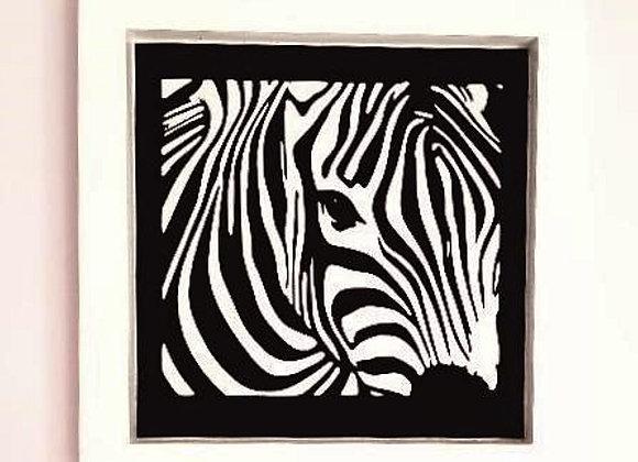 Cadre blanc en bois 25 x 25 cm - Zèbre en papier noir, 25 x 25 cm