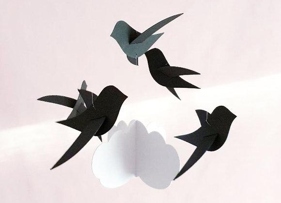 Mobile bébé 6 Oiseaux noirs et nuage sur cercle en bois 70x20cm