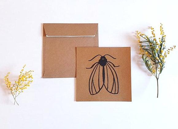 Carte + enveloppe 13.5x13.5cm,Papillon de nuit en dentelle,Papier recyclé