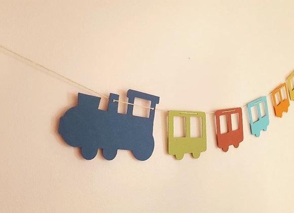 La guirlande du petit train en papier cartonné recyclé coloré