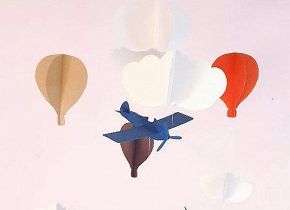Mobile pour bébé - Montgolfières et avions en papier cartonné recyclé