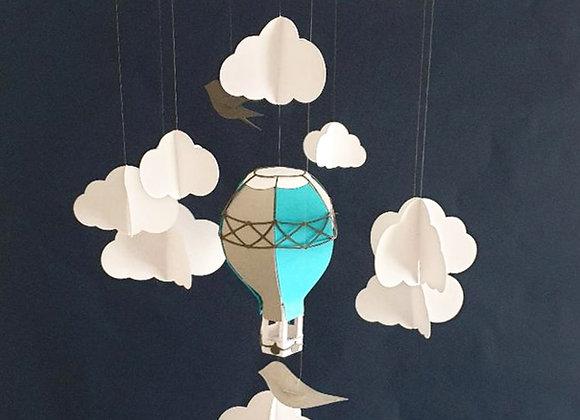 Mobile montgolfière bleu/gris 80x30cm