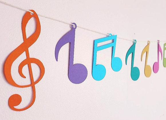 Guirlande de Notes de Musique colorées en papier cartonné recyclé