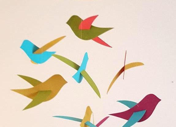 Mobile bébé - 8 oiseaux et son cercle en bois