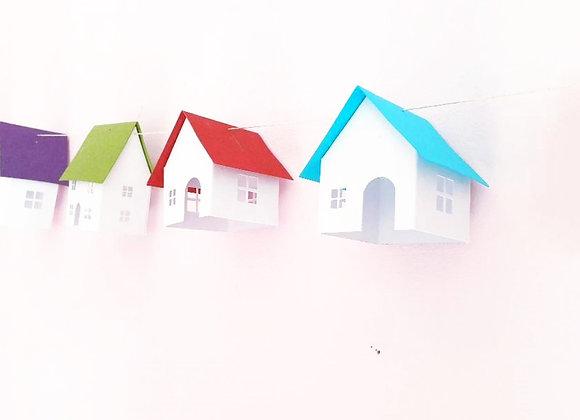 Guirlande 8 Maisonnettes colorées en papier cartonné recyclé