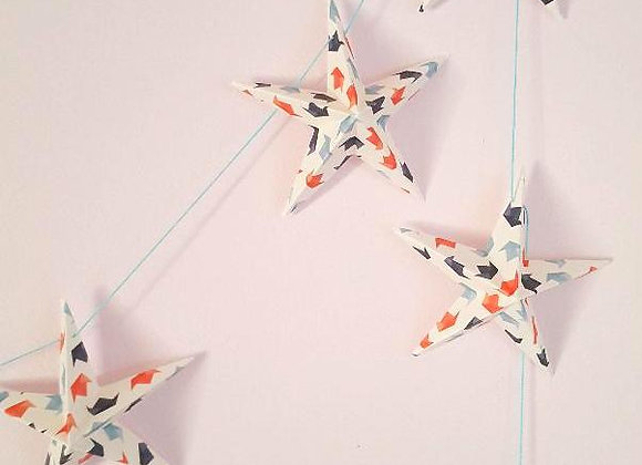 Guirlande de décoration,8 étoiles en papier,3D,Fait main