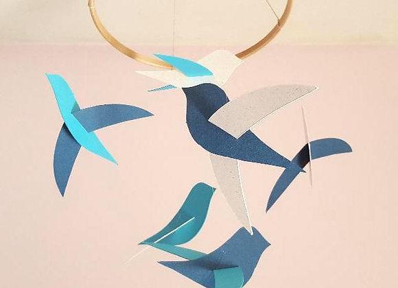Mobile bébé - 6 oiseaux et cercle en bois
