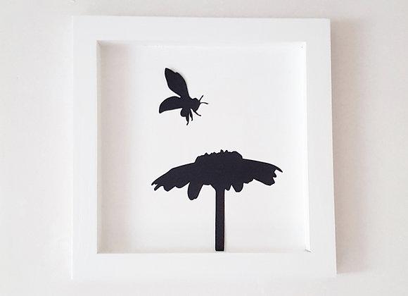 Cadre blanc en bois  25 x 25 cm - L'abeille et la paquerette