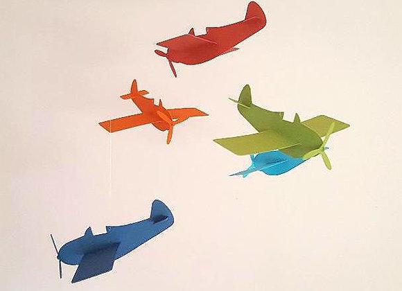Mobile et ses avions en papier recyclé et son cercle en bois