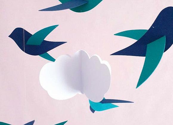 Mobile bébé - 6 oiseaux vert/bleu et nuage sur cercle en bois