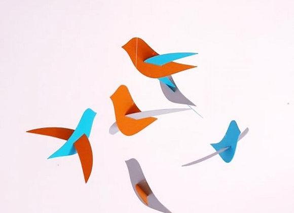 Mobile bébé - 6 oiseaux gris orange bleu