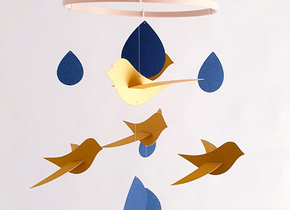 Mobile bébé 5 Oiseaux or Gouttes bleu sur cercle en bois