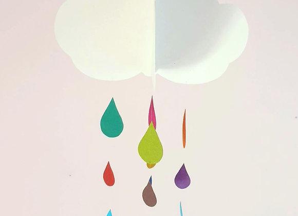 Mobile nuage et gouttes d'eau coloré en papier cartonné recyclé