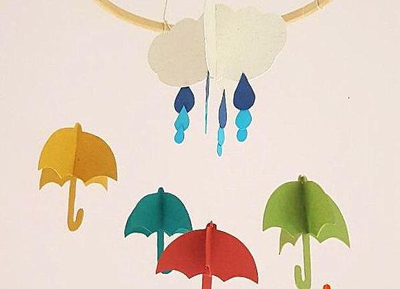 Mobile et ses parapluies en papier recyclé et son cercle en bois