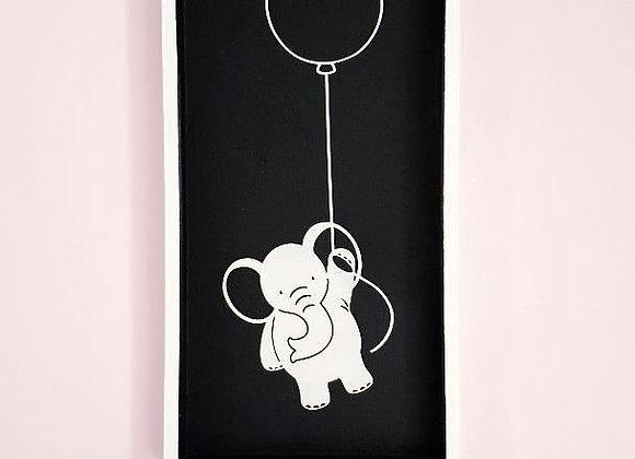 Cadre blanc et noir en bois,Eléphant en papier noir, 15 x 30 cm