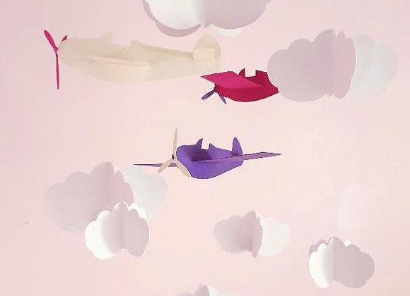 Mobile avions roses et nuages blancs en papier cartonné recycl