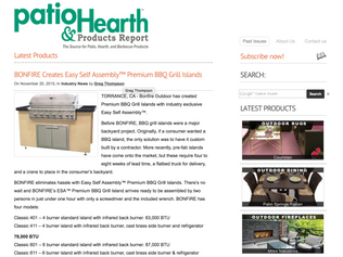 Check out the early press on the launch of BONFIRE Classic Easy Self Assembly™ Gas Grill BBQ Islands