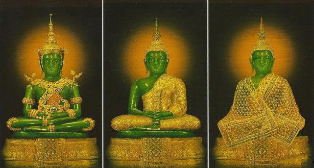 In tone of great reverence for The Emerald Buddha a ceremonial costume change, only performed by the King of Thailand, occurs three times per year: for summer, rainy and winter seasons.
