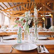beautiful table setting at barn venue