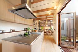 アイランド型のオリジナルキッチン。壁面収納は奥行きの浅いデザインに
