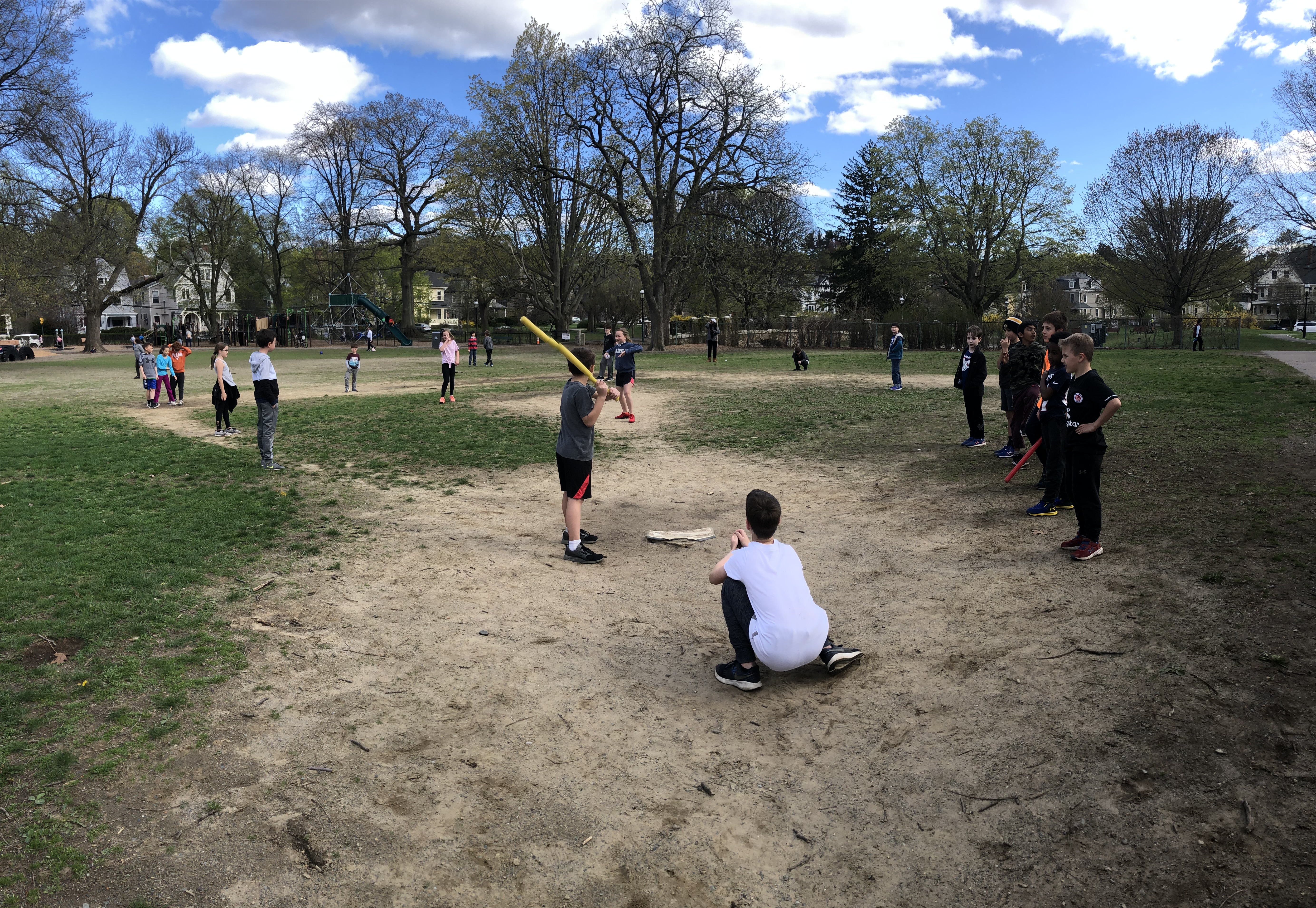 Wiffle ball game during recess