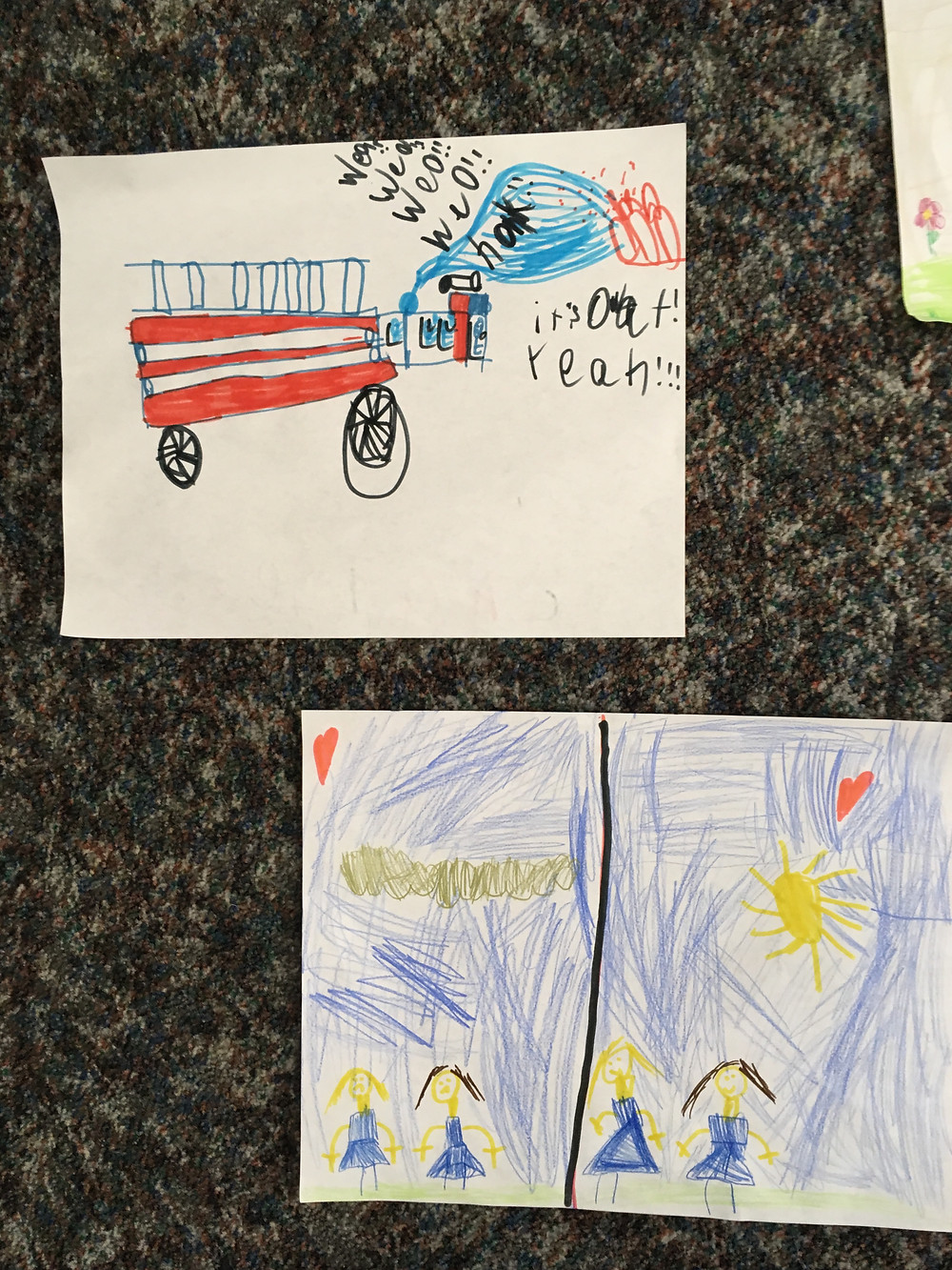 Students drew pictures of what community service means to them