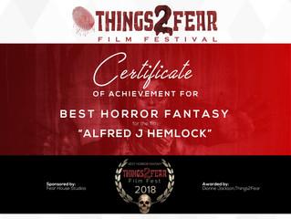 Alfred J Hemlock Wins Best Horror Fantasy at Things 2 Fear Film Festival