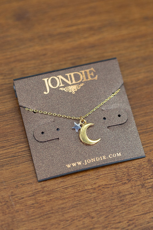 Gold Moon with Silver Star Dainty Necklace