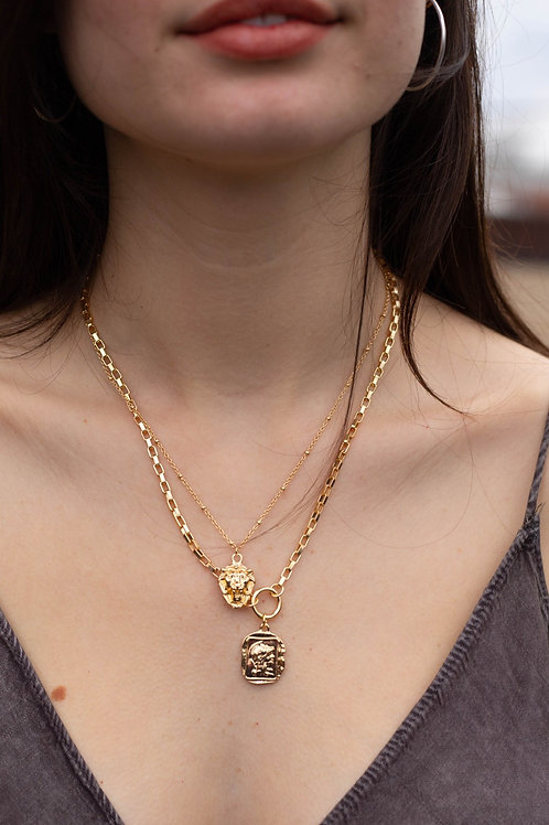 Roman Soldier & Lion's Head Layered Necklace