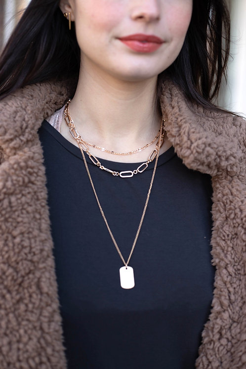 Gold Chain Layered Necklace with Square Pendant