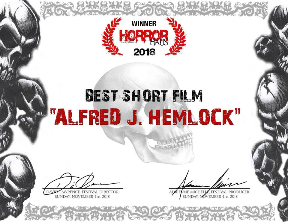 Award Certificate from the Horror Haus Film Festival for Best Short Film