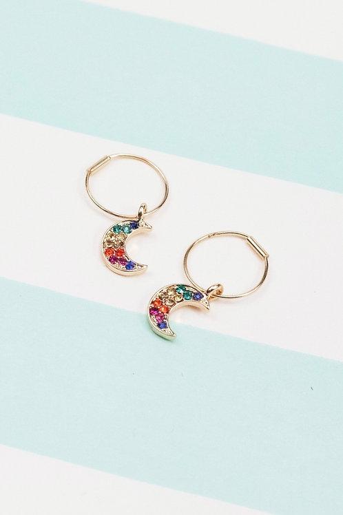 Rainbow CZ Moon Huggie Hoop Earrings