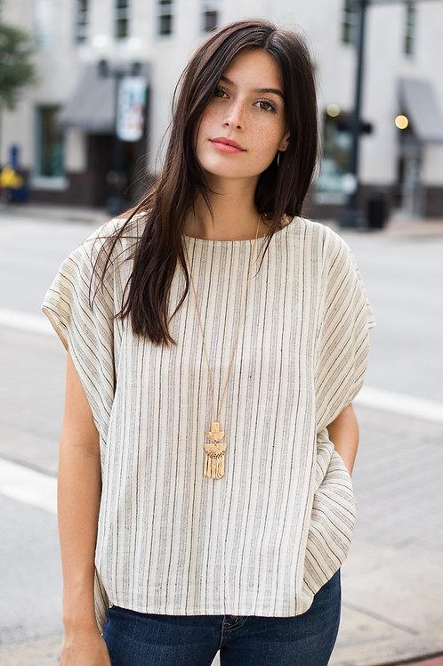 Striped Linen Blend Short Sleeve Top