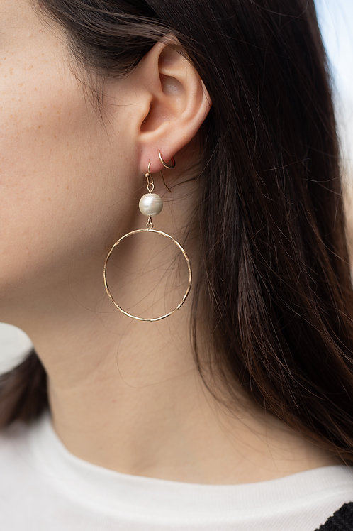 Gold Circle Earrings with Pearls