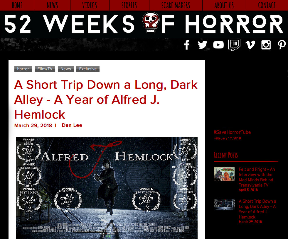 52 Weeks of Horror Page showing Alfred J Hemlock running in the rain with an axe