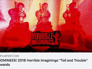 Alfred J Hemlock Nominated for Two Awards at the Horrible Imaginings Film Festival