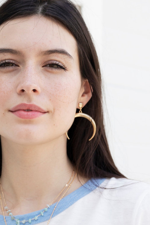 Gold or Silver Crescent Drop Earrings