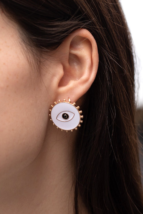White Enamel Eye Stud Earrings