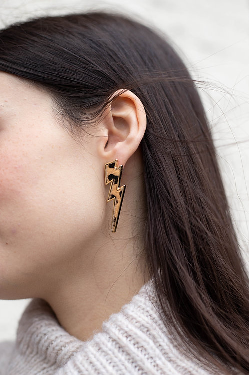 Leopard Print Lighting Bolt Earrings