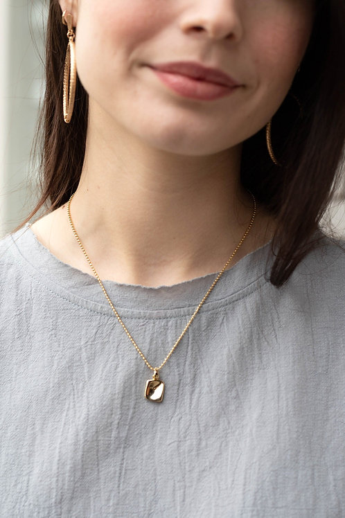 Gold Rectangle Charm on Beaded Chain