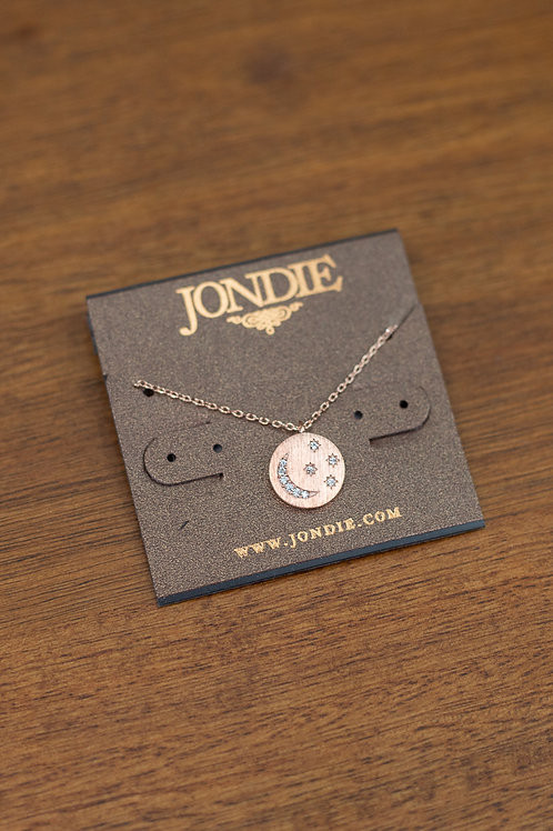 Rhinestone Moon and Star Dainty Necklace