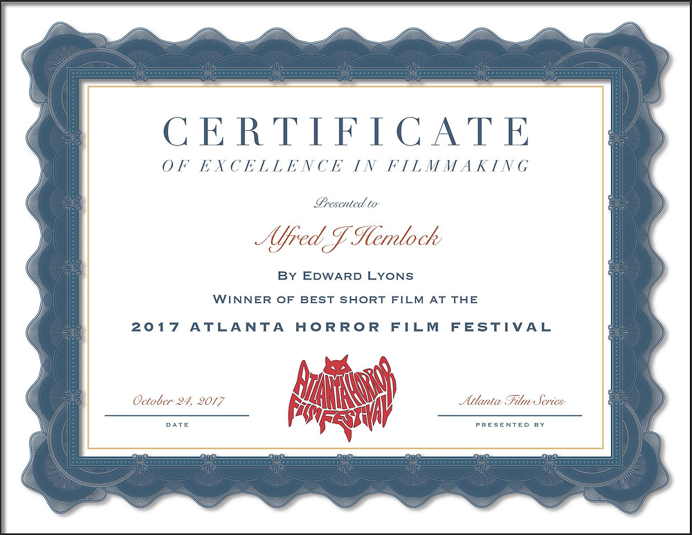 Certificate for Best Short Film Atlanta Horror Film Festival